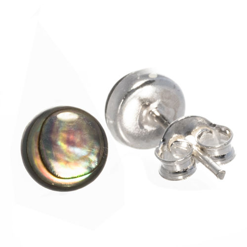 Ohrstecker mit Abalone 6 mm 925 Sterling Silber