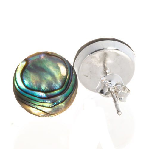 Ohrstecker mit Abalone 10 mm 925 Sterling Silber