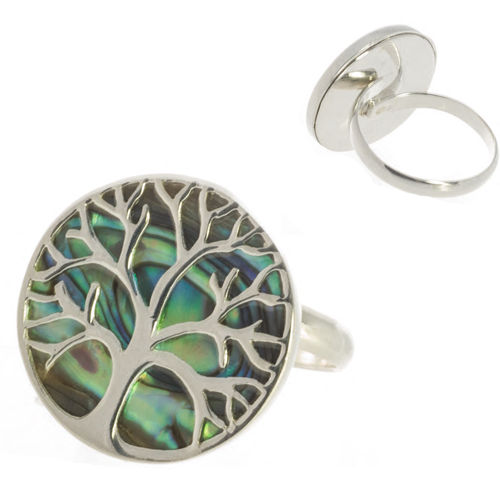 Ring mit Abalone Lebensbaum, 925 Sterling Silber