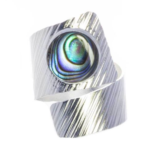 Breiter Ring mit Abalone 925 Sterling Silber