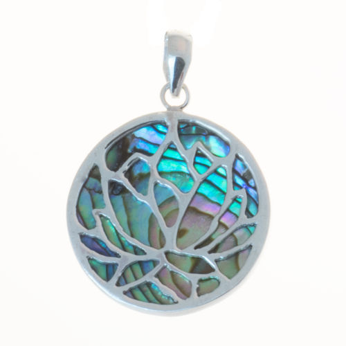 Anhänger Lotus mit Abalone 2,4 cm 925 Sterling Silber