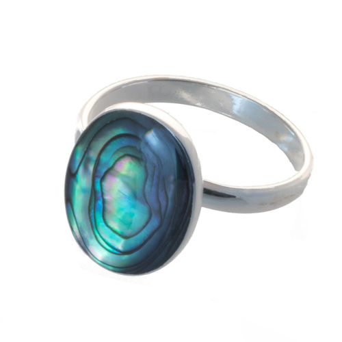 Ring mit Abalone 1,4 cm oval, verstellbar, 925 Sterling Silber