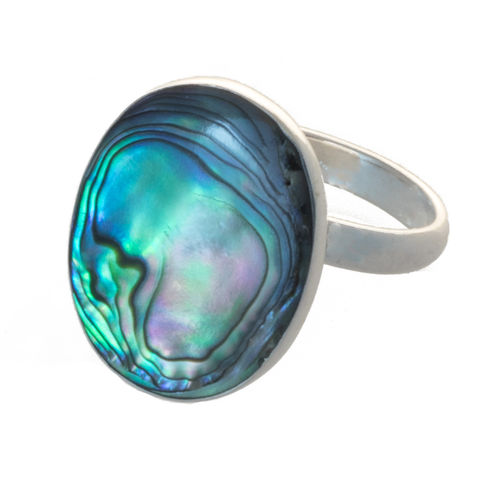 Ring mit Abalone oval verstellbar 1,9 cm, 925 Sterling Silber